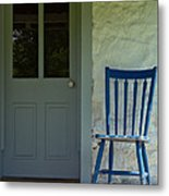 Chair On Farmhouse Porch Metal Print by Olivier Le Queinec