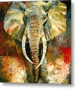 Charging African Elephant Metal Print by Christiaan Bekker