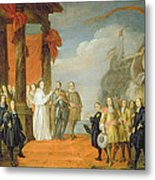 Charles V Leaving The Town Of Dort Metal Print by David the Elder Teniers