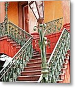 Charleston Staircase Street Lamps Architecture Metal Print by Kathy Fornal