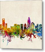 Charlotte North Carolina Skyline Metal Print by Michael Tompsett