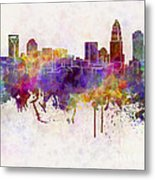 Charlotte Skyline In Watercolor Background Metal Print by Pablo Romero