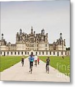 Chateau Chambord And Cyclists Metal Print by Colin and Linda McKie