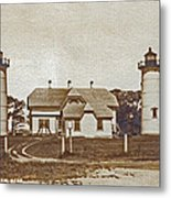 Chatham Twin Lights 1908-18 Metal Print by Skip Willits