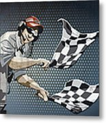Checkered Flag Grunge Color Metal Print by Frank Ramspott