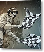 Checkered Flag Grunge Monochrome Metal Print by Frank Ramspott