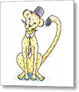 Cheetah In A Top Hat Metal Print by Christy Beckwith