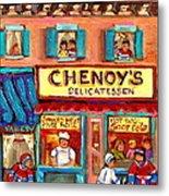 Chenoys Delicatessen Montreal Landmarks Painting  Carole Spandau Street Scene Specialist Artist Metal Print by Carole Spandau