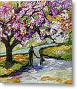 Cherry Blossom Tree Walk In The Park Metal Print by Ginette Callaway