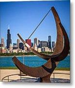 Chicago Adler Planetarium Sundial And Chicago Skyline Metal Print by Paul Velgos