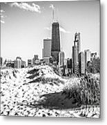 Chicago Beach And Skyline Black And White Photo Metal Print by Paul Velgos