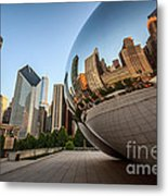 Chicago Bean Cloud Gate Sculpture Reflection Metal Print by Paul Velgos