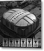 Chicago Bulls Banners In Black And White Metal Print by Thomas Woolworth