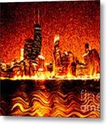 Chicago Hell Digital Painting Metal Print by Paul Velgos