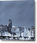 Chicago In Blue Metal Print by Sebastian Musial