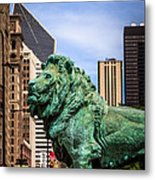 Chicago Lion Statues At The Art Institute Metal Print by Paul Velgos