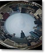 Chicago Looking West Polar View Metal Print by Thomas Woolworth