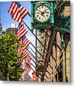 Chicago Macy's Clock And Chicago Theatre Sign Metal Print by Paul Velgos