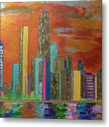 Chicago Metallic Skyline Metal Print by Char Swift