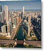 Chicago River Aloft Metal Print by Steve Gadomski