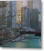 Chicago River Sunset Metal Print by Jeff Kolker