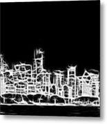 Chicago Skyline Fractal Black And White Metal Print by Adam Romanowicz