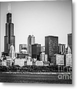 Chicago Skyline With Sears Tower In Black And White Metal Print by Paul Velgos