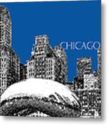 Chicago The Bean - Royal Blue Metal Print by DB Artist