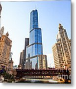 Chicago Trump Tower At Michigan Avenue Bridge Metal Print by Paul Velgos