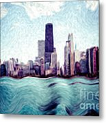 Chicago Windy City Digital Art Painting Metal Print by Paul Velgos