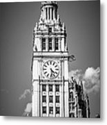 Chicago Wrigley Building Clock Black And White Picture Metal Print by Paul Velgos