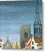 Chichester Cathedral A Snow Scene Metal Print by Judy Joel