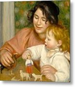 Child With Toys Gabrielle And The Artist S Son Jean Metal Print by Pierre Auguste Renoir