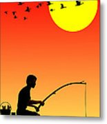 Childhood Dreams 3 Fishing Metal Print by John Edwards