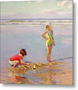 Children On The Beach Metal Print by Charles-Garabed Atamian
