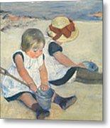 Children Playing On The Beach Metal Print by Mary Stevenson Cassatt