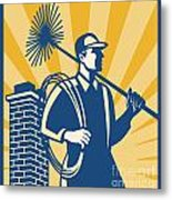 Chimney Sweeper Cleaner Worker Retro Metal Print by Aloysius Patrimonio