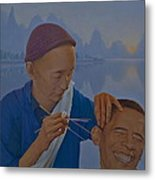 Chinese Citizen Barack Obama On The Ear Scops Metal Print by Tu Guohong