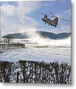 Chinook In Snow Dust Metal Print by Nop Briex