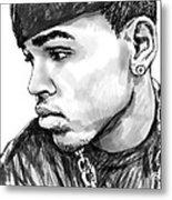 Chris Brown Art Drawing Sketch Portrait Metal Print by Kim Wang