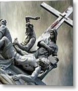 Christ On The Cross With Mourners Saint Joseph Cemetery Evansville Indiana 2006 Metal Print by John Hanou