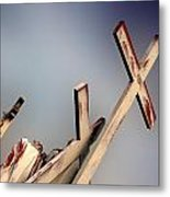 Christ On The Cross With Mourners St. Joseph Cemetery Evansville Indiana 2006 Metal Print by John Hanou
