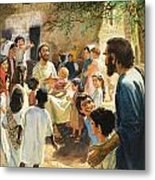 Christ With Children Metal Print by Peter Seabright