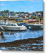 Christchurch Hengistbury Head Beach With Boats Metal Print by Martin Davey