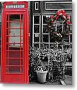 Christmas - The Red Telephone Box And Christmas Wreath IIi Metal Print by Lee Dos Santos
