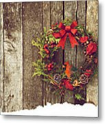 Christmas Cardinal. Metal Print by Kelly Nelson