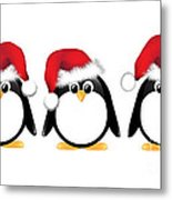 Christmas Penguins Isolated Metal Print by Jane Rix