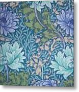 Chrysanthemums In Blue Metal Print by William Morris