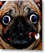 Cigar Puffing Pug - Electric Art Metal Print by Wingsdomain Art and Photography