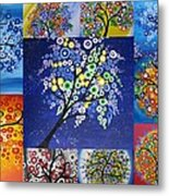 Circle Tree Collage Metal Print by Cathy Jacobs